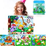 Giftinthebox Puzzles for Kids Ages 3-8 Toddler, Wooden Jigsaw Puzzles 4 Pieces Preschool Educational Learning Toys Set Animals Puzzles for Boys and Girls