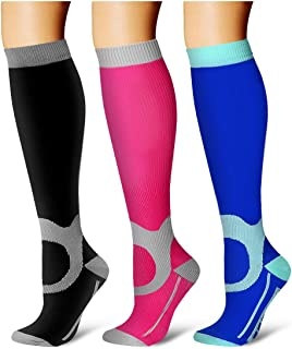 Laite Hebe Compression Socks,(3 Pairs) Compression Sock Women & Men - Best Running, Athletic Sports, Crossfit, Flight Travel