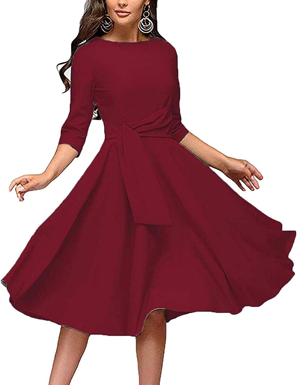 VEZARON Women Summer Swing Dress Round Neck 3/4 Sleeve Casual Loose Flowy Twist Front Midi Dress