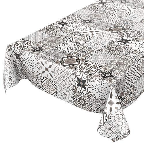 Anro Mantel de hule, lavable, diseño de mármol, color gris