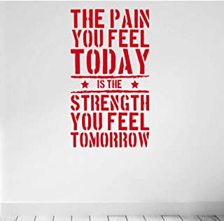 The Pain You Feel Today Quote Wall Sticker Vinyl Home Fitness Gym Strength Workout Wall Decals Art Decor Murals Removable 42x73cm