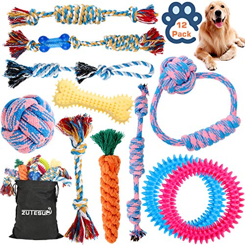 Dog Rope Toy for Puppy Teething, 12 Pack Indestructible Dog Toys for Aggressive Chewers Tug Tough Dog Toys Interactive Puppies Small Medium Dogs Durable Chew Toys for Boredom Chew Teething Tug of War