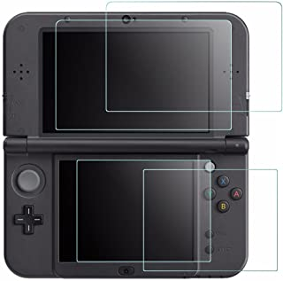 Screen Protector for Nintendo New 3DS XL, AFUNTA 4 Pcs Tempered Glass for Top Screen and HD Clear Crystal PET Film for Bot...