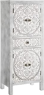 AXIDECOR - Cómodas Estilo Oriental - Mueble Auxiliar Oriente 4 Puertas 1 Cajón Gris (45x30,5x110)