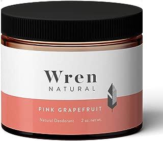 Wren Natural Deodorant Paste Cream with Organic Ingredients for Men and Women No Parabens No Aluminum, Pink Grapefruit 2 Ounce