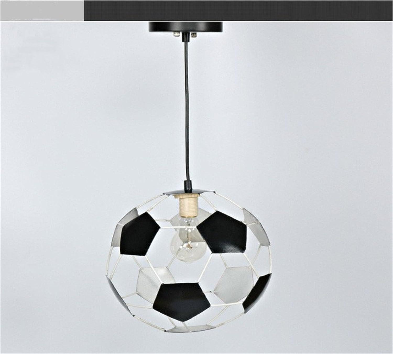 HEYUN& Circulaire bar fer de football de l'industrie restaurant créatif pendentif LED unique tête de fer pendentif chandelier 26  26 (cm) [Classe énergétique A ++] (Couleur   Lumière blanche)