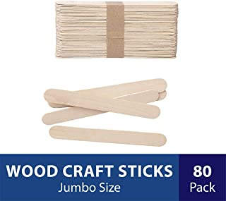 Darice Natural Wood Craft Sticks Jumbo. 80 Pieces, (5.75...