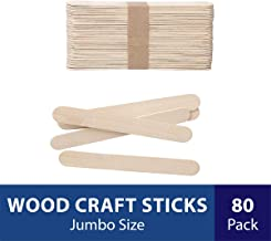 Darice Natural Wood Craft Sticks Jumbo. 80 Pieces, (5.75 Inch)