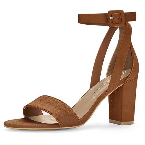 bab06ed4b97 Allegra K HJ284-5 Women PU Panel Piped Chunky Heel Ankle Strap Sandals