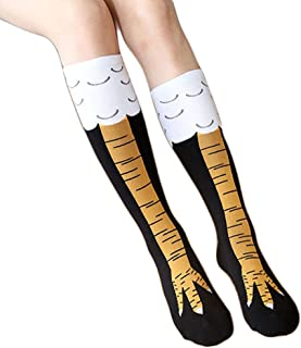 Crazy Funny Chicken Leg Pattern Design Women Knee High Casual Socks