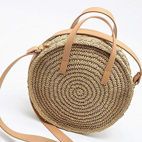 raninnao Rattan Umhängetasche Handgewebte runde Handtasche Damen Strohbeutel Kreis Handgewebte Strand Taschen Durchmesser 26CM