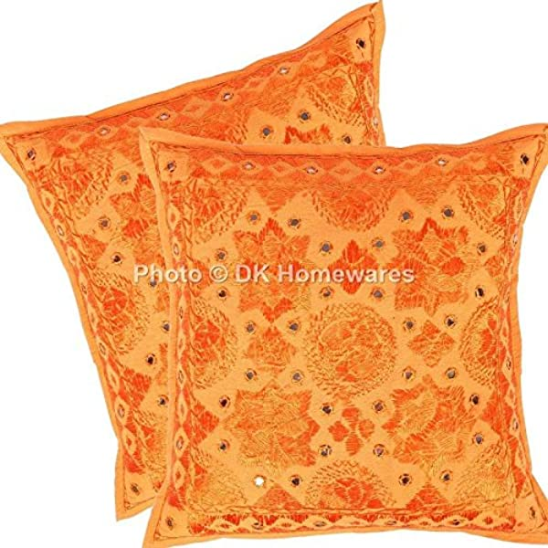 DK Homewares Boho 16x16 Throw Pillow Covers Orange Mirrored Work Embroidered Cotton Square Cushion Covers Set Of 2 40 X 40 Cm 16x16 Inch