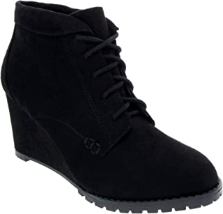 Sugar Women's Kennie Wedge Boot with Collarie Lace Up Ankle Boot with Cuff Collar