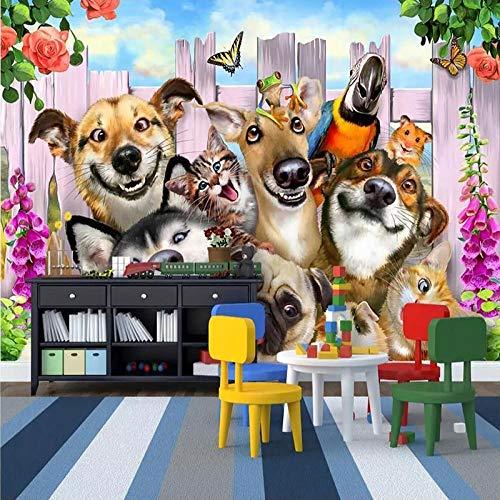 MGQSS Tapete Wandgemälde Wandkunst Cartoon Hund Tier Zoohandlung 3D Selbstklebend PVC Wandgemälde Essen und Trinken Café Geschäft Restaurant Bekleidungsgeschäft Jahrgang Thema Hinte (B)430x(H)300 cm