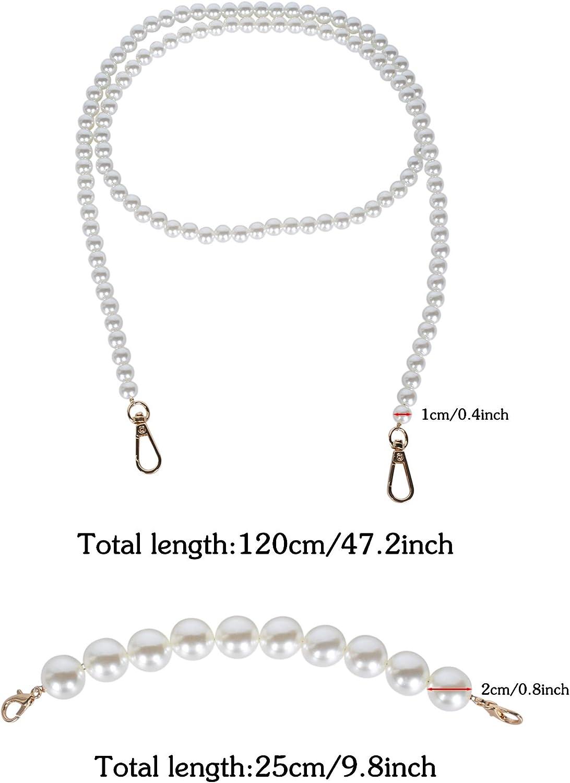 besbomig 3 Pezzi Manici di Borsa Perle Imitazione Spalla Tracolla Cinturino con Fibbie Metalliche Catena Ricambio per Borsa Accessori 120CM