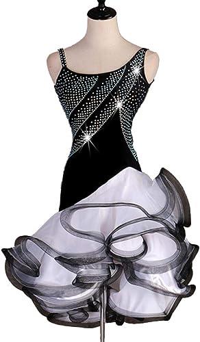 Danse RobesCostume de Danse de compétition Latine sans Manches Professionnel Simple Tango Rumba Perforhommece Danse Vêtements Poisson OS Jupe Collant Robe