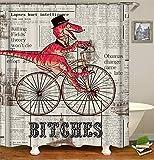 ZZZdz Zeitung Fahrrad Dinosaurier. Duschvorhang. 180 X 180 cm. 12 Freie Haken. Haus Dekoration. 3D Hd-Druck. Einfach Zu Säubern. Badezimmerzubehör.
