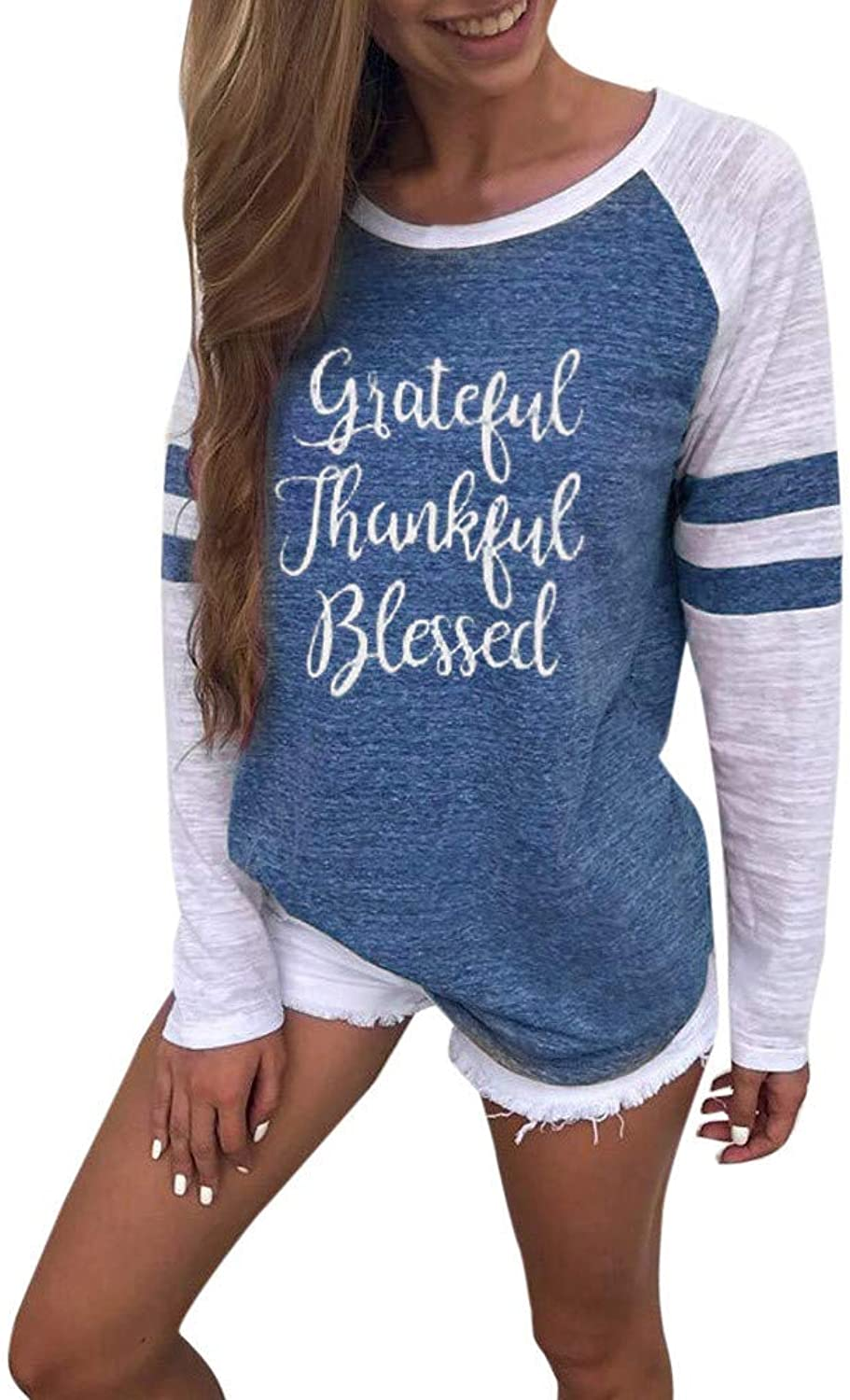 Ameily Women Thanksgiving Blouse Ladies Plus Size Long Sleeve Tops Patchwork T Shirt Tunic