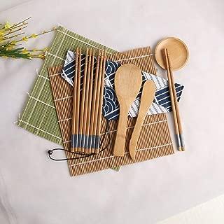 Symbioled Sushi Making Kit, Sushi Bamboo Mat, Including 2 Sushi Rolling Mats, 5 Pairs of Chopsticks, 1 Paddle, 1 Spreader, 1 Sauce Dish, 1 Cotton Bag, 1 Beginner's Instruction Manual