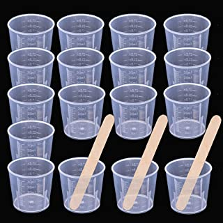 Buytra 50 Pack 30ml Clear Graduated Plastic Cups Measuring Cups with 50 Pack Wood Stir Sticks for Mixing Paint, Stain, Epoxy, Resin