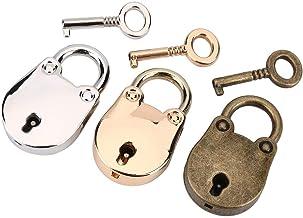 3 Stks/set Antiek Hangslot & Skelet Key Notebook Metalen Slot Zilver+Goud + Brons