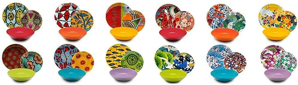 Excelsa afrika , servizio di piatti , 18 pezzi, in porcellana e ceramica multicolore