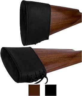 BronzeDog Slip On Recoil Pad Genuine Leather Buttstock Extension for Shotguns Rifles Hunting Shooting Brown Black