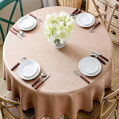 Bao Xing Bei Firm Tablecloth solid color round hemp table cloth European Hotel 1.5 meters large round tablecloth tablecloth art home tablecloth (Color : Brown, Size : 130cm)