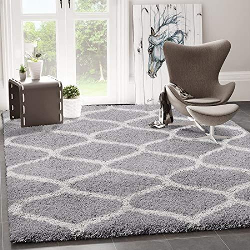 VIMODA Hochflor Teppich Maschen Design Marokkanisch Muster Grau Creme, Maße:140x200 cm