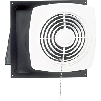 Broan-Nutone 506 Chain-Operated Ventilation Fan, Plastic White Square Exhaust Fan, 7.5 Sones, 430 CFM, 10-inch
