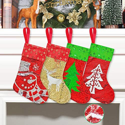 Qisiewell Weihnachtsstrumpf Paillettenmuster 4er Set 44 * 26cm Groß Weihnachtssocken Nikolaussocken Hängende Strümpfe Als Kamin Weihnachtsdeko Geschenkverpackung