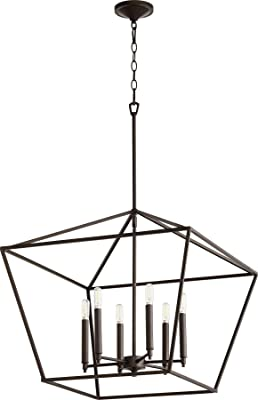 Quorum 644-6-86 Transitional Six Light Entry Pendant from Gabriel Collection in Bronze/Dark Finish