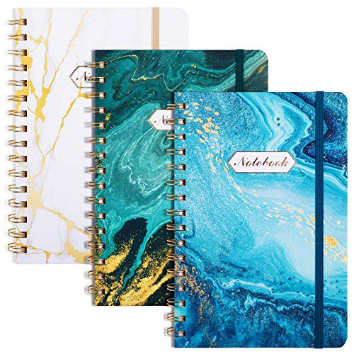 EOOUT 3 Pack A5 Spiral Notebook, Hardcover Notebook, Ruled Journal, 6'x 8.5', 160 Pages, Marble Pattern, Back Pocket, 100gsm Paper, for Office, School Supplies