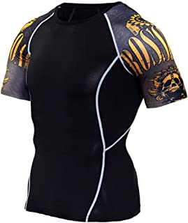 Black Compression Shirt Mens Slim Dri Fit Short Sleeve Yoga Tees