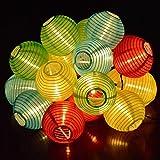Tr turn raise 4. 8 metros 20 led guirnaldas de luces farolillos solares exterior impermeable para decoración jardines casas bodas(multicolor)