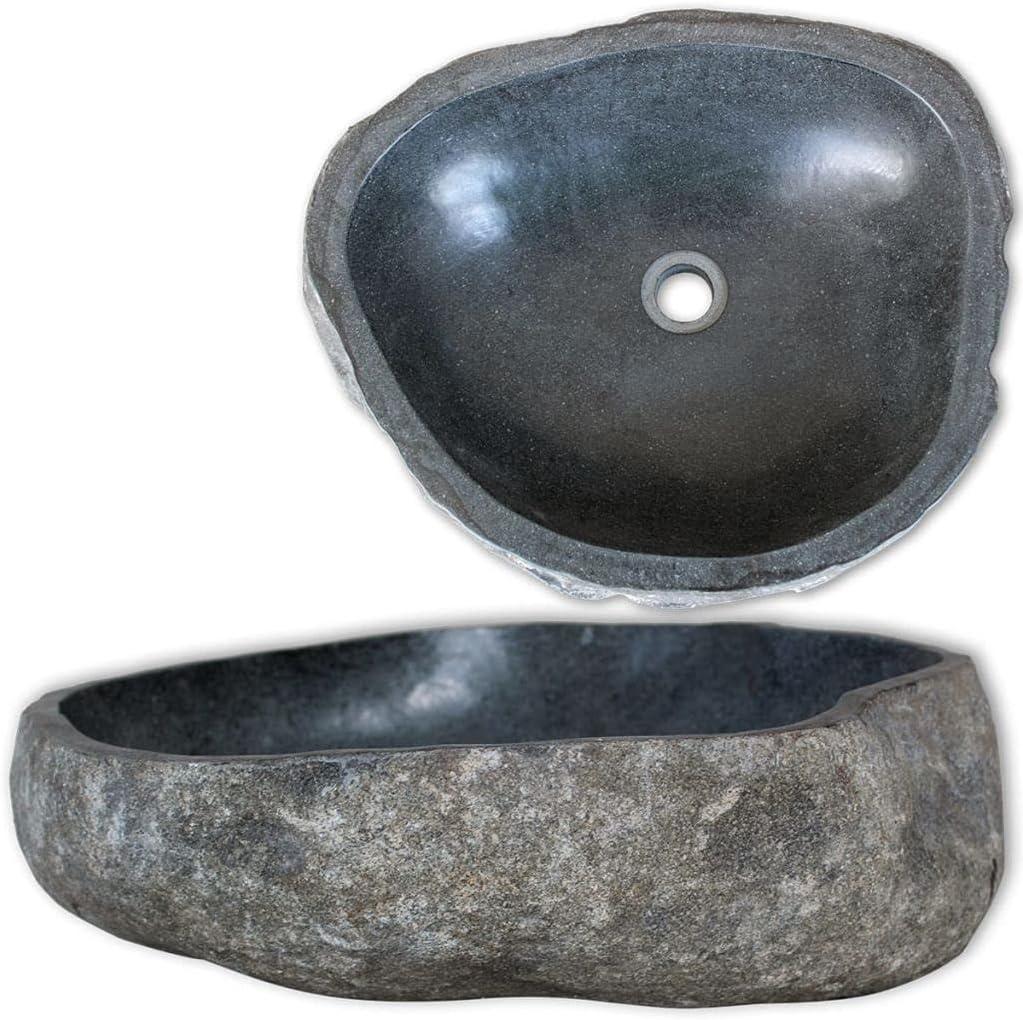 vidaXL Lavabo Rústico de Forma Ovalada Piedra Natural Río 30-37 cm Lavamanos