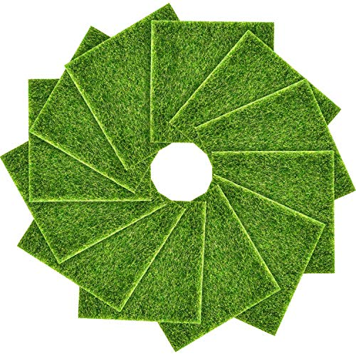 Pangda Artificial Garden Grass, Life-Like Fairy Artificial Grass Lawn 6 x 6 Inches Miniature Ornament Garden Dollhouse DIY Grass(12 Packs)