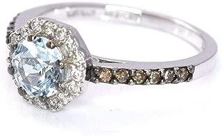 LeVian Blue Aquamarine Halo Women Ring Chocolate and Vanilla Diamonds 14K White Gold