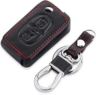 HOMGB Key Cover Car Styling Leather car Key Cover for Peugeot 107 206 207 307 407 308 607 RCZ for Citroen C1 C2 C3 C4 C5 C6 C8,2 Button