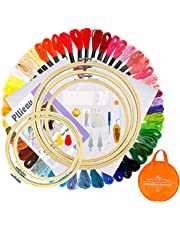Pllieay Kit de bordado para principiantes con 5 aros de bambú para bordados, 50 hilos de color, reserva clásica Aida con kit de herramientas de punto de cruz