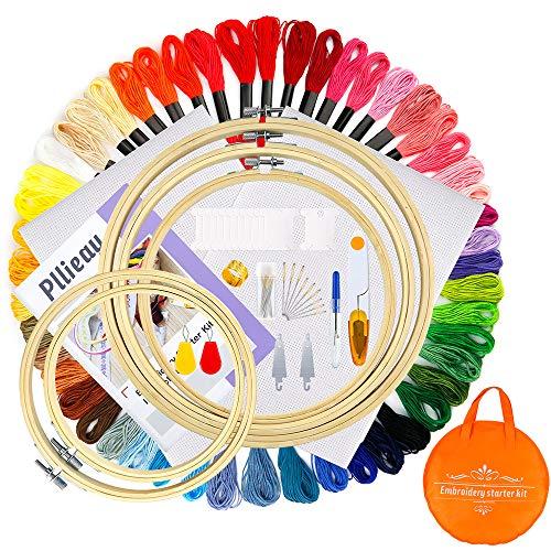Pllieay Ricamo Starter Kit, Kit di Attrezzi a Punto Croce con 5 pezzi di cerchi da ricamo in bambù, 50 fili di ricamo a colori, Aida di riserva classica da 14 conteggi e kit di strumenti