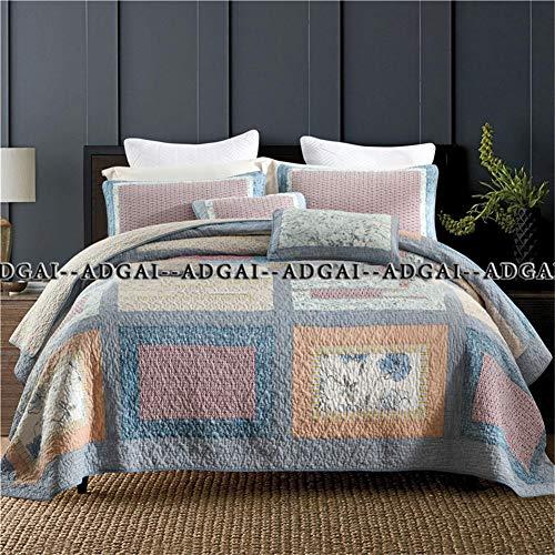 Acolchado Patchwork Colcha King Size 3 pedazos de algodón hechos a mano del mosaico Azul Naranja tiro de la cama manta ligera Consolador Coverlet