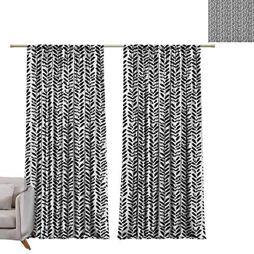 Tr.G gordijnen voor woonkamer Verduisterende en thermische isolerende Draperies Zwart en Wit, Minimaal Patroon met Slanted Oval Shapes Langwerpige Elliptische contouren Zwart en Wit