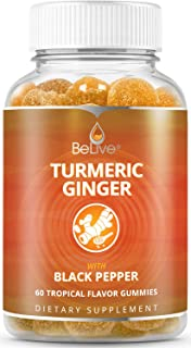 Turmeric Curcumin Gummies with Ginger & Black Pepper Extract - Supports Joint Pain, Inflammatory Response, Vegan (60 Ct)