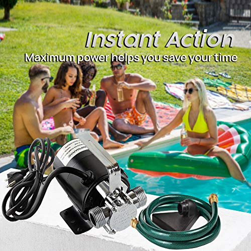 SumpMarine Water Transfer Pump, 115V 330 Gallon Per Hour - Portable Electric Utility Pump with 6' Water Hose Kit - To Remove Water From Garden, Hot Tub, Rain Barrel, Pool, Ponds, Aquariums, and More