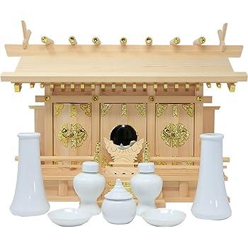 松山神仏具店 神棚 通し屋根三社 小 神具・神鏡セット 雲シール付 日本製 国産 幅54cm 高37cm 奥18cm