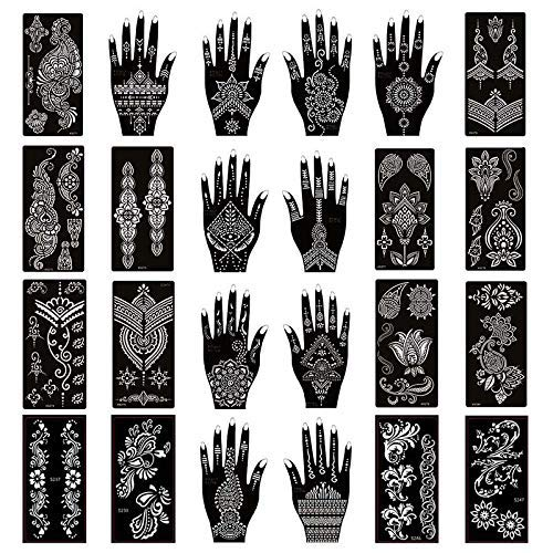 Ivana's - Pack of 24 Sheets Henna Tattoo Stencil Kit/Temporary Tattoo Templates,Self-Adhesive Indian Arabian Tattoo Sticker for Body Paint New Designs