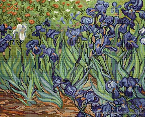 Luca-S Van Gogh Irises - Juego de Punto de Cruz, diseño de Lirios de Van Gogh