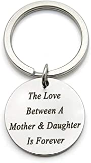 "AMdxd Stainless Steel Keychain Women Men Engraved""The Love Between A Mother & Daughter is Forever"" Silver Key Chain Rings"