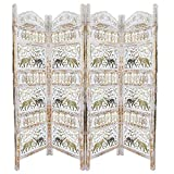 Benjara Classic 4 Panel Mango Wood Room Divider with Elephant Carvings, Gold and White